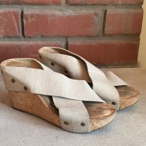 Lucky Brand Khaki MILLER Wedge Sandals 5